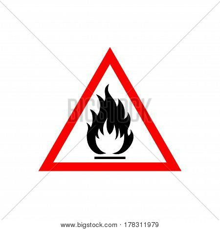Flammable sign, flame pictogram. White triangle framed by a red line vector icon