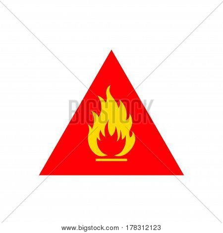 Flammable sign, flame pictogram. Red triangle vector icon