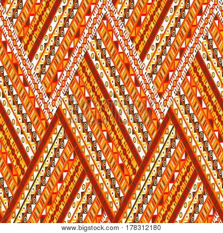 Doodle elements zigzag pattern, orange ethnic motifs