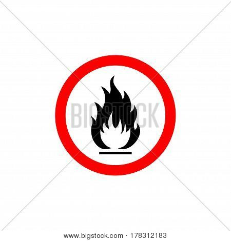 Flammable sign, flame pictogram. White circle framed by a red line vector icon