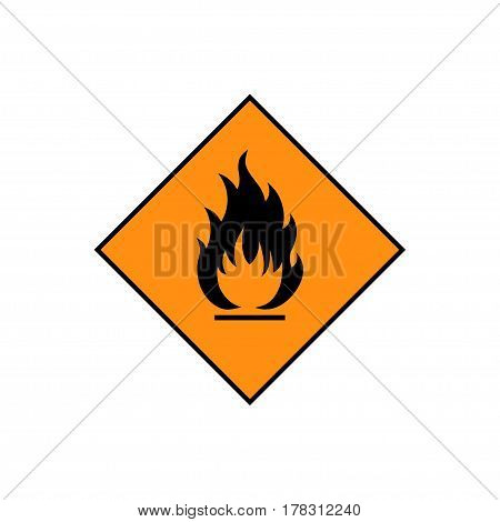 Flammable sign, flame pictogram. Orange square framed by a black line vector icon