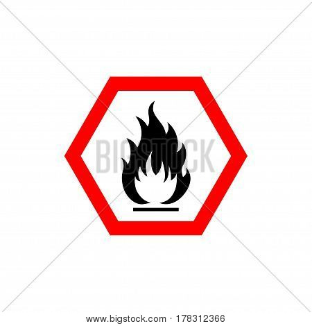 Flammable sign, flame pictogram. White hexagon framed by a red line vector icon