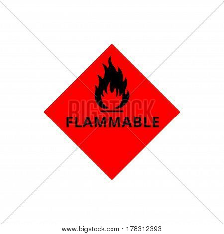 Flammable sign, flame pictogram. Red square vector icon