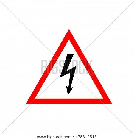 High Voltage Sign. Black arrow in white triangle framed by a red line. Vector icon