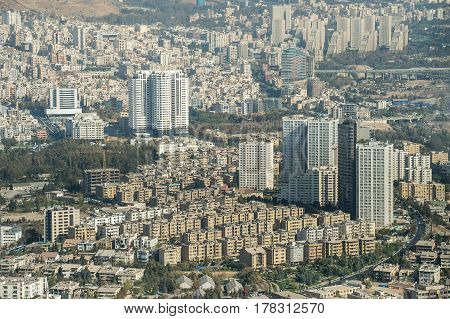 Aerial view of Tehran the capital city of Iran View from Milad Tower also known as the Tehran Tower