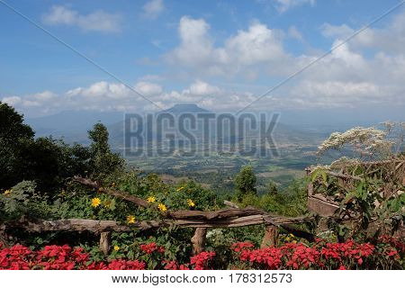 Views of Sunset at the Mount Fuji Loei ProvinceThailand. This Mountain looks like Mount Fuji in Japan
