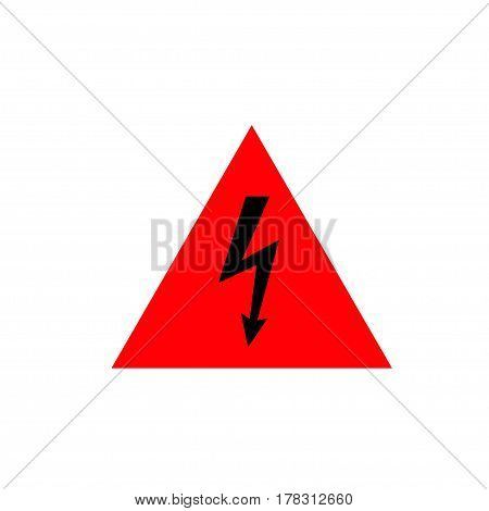 High Voltage Sign. Black arrow in red triangle. Vector icon