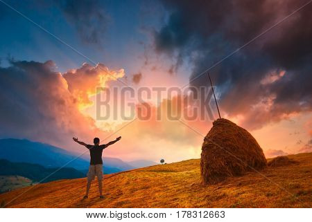 Man Enjoy Wonderful Sunset