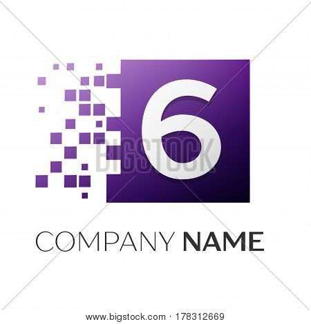 Number six vector logo symbol in the colorful square on white background. Vector template for your design