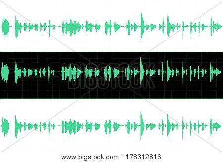 Waveform sound illustration with middle wave on black background