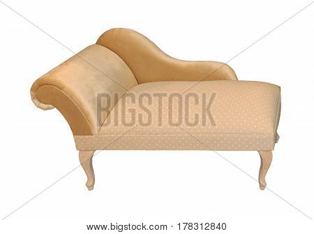 Retro beige chaise longue seat isolated with clipping path included