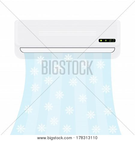 Split system air conditioner. Realistic conditioner with cold air with snowflakes. Vector illustration isolated on white background