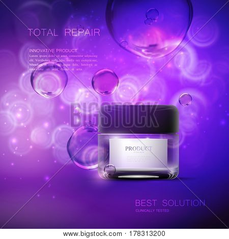 Cosmetics product ads. 3d vector beauty illustration of moisturizing facial cream or mask glass jar, shiny liquid bubbles. Beauty package mock-up for fashion magazine poster design. Offer of the week