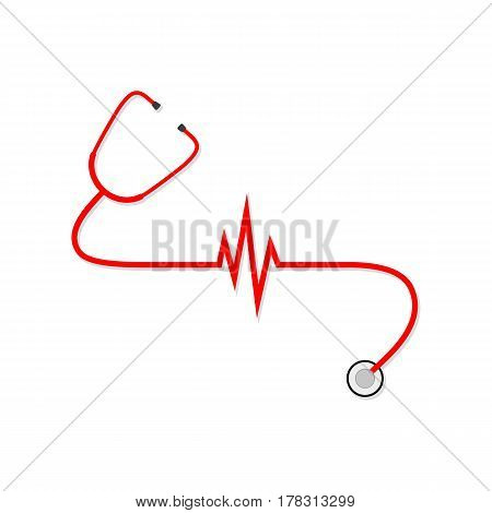 Stethoscope with Heartbeat sign isolated on white background. Vector Illustration. Concept of medical examinations