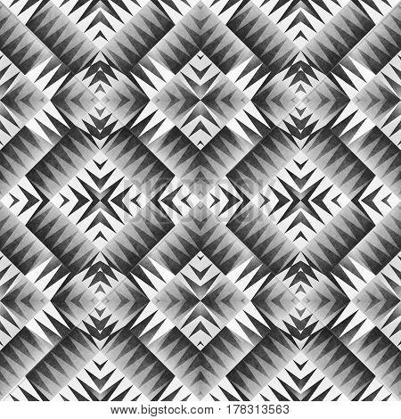 Monochrome Tribal Seamless Pattern. Aztec Style Abstract Geometric Art Print. Ethnic Textured Background.