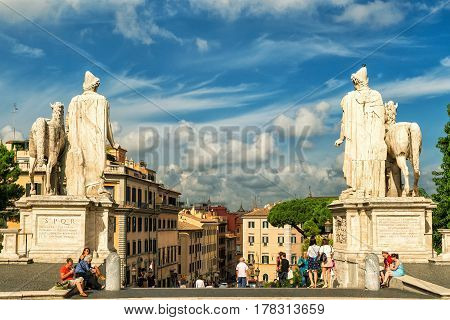 ROME, ITALY - OCTOBER 3, 2012: View of Rome from the Capitoline Hill. Capitoline is one of the hills of ancient Rome where in ancient times was the Senate.