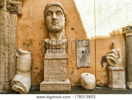 ROME, ITALY - OCTOBER 3, 2012: Fragments of a giant statue of Constantine the Great in the Capitoline Hill.