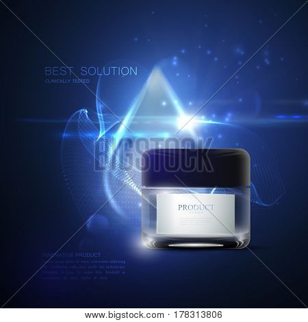 Innovative cosmetic product ads. Cosmetics package design. 3d vector beauty illustration. Moisturizing facial cream mask glass jar with droplet and shiny particles. Beauty package mock-up