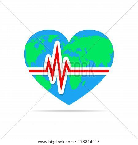 Colored heart with heartbeat icon. Vector illustration. Heart sign with world map in flat design.