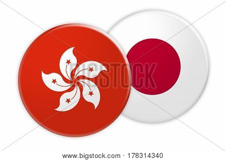 News Concept: Hong Kong Flag Button On Japan Flag Button 3d illustration on white background