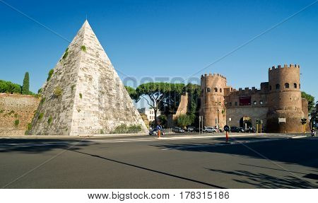 Pyramid of Cestius and the Porta San Paolo, Rome, Italy