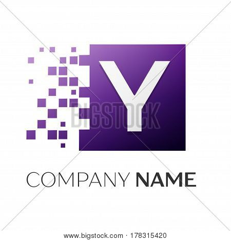 Letter Y vector logo symbol in the colorful square with shattered blocks on white background. Vector template for your design