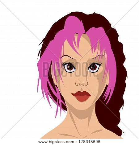 Brown-haired woman with pink bangs and brown eyes. Girl face in high quality. Many details. Can be used as an avatar. vector illustration
