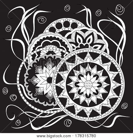 Hand drawn isolated white print on black in boho style with mandalas and flowers for backdrop visit card decorate dishes cup porcelain home laptop skins cases stationery. eps 10.