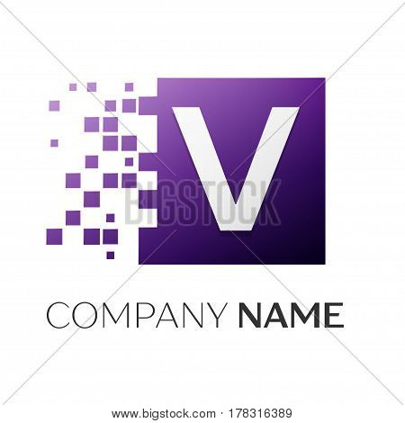 Letter V vector logo symbol in the colorful square with shattered blocks on white background. Vector template for your design