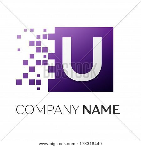 Letter U vector logo symbol in the colorful square with shattered blocks on white background. Vector template for your design