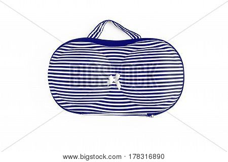 Drawing Blue And White Stripes Bag For Bras, For Traveling, Isolated