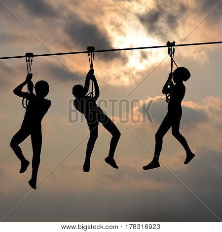 Children silhouettes gliding on the flying fox contraption against a blue cloudy sky