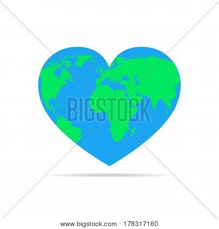 Globe in the form of the heart isolated on white background. Vector illustration. Heart with earth map.