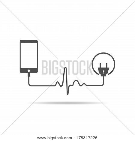 Smartphone charging connect to power plug. Charging a mobile phone with a cable in shape of heartbeat. Vector illustration.