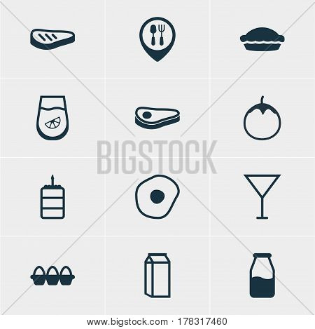 Vector Illustration Of 12 Dish Icons. Editable Pack Of Roast Beef, Cruet, Egg Container And Other Elements.