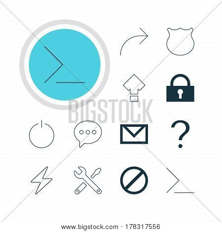Vector Illustration Of 12 Interface Icons. Editable Pack Of Letter, Share, Bolt And Other Elements.