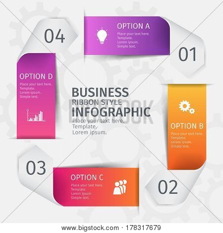 Modern 3D ribbons in the form of a square for business infographics. Vector template with 5 steps, parts, options, stages