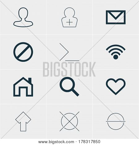 Vector Illustration Of 12 Interface Icons. Editable Pack Of Cancel, Man Member, Access Denied And Other Elements.