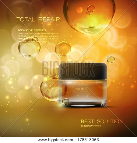 Beauty regenerative anti wrinkle cream ad. Cosmetics package design. Vector beauty illustration. Moisturizing facial cream glass jar on sparkling background with oil bubbles. Product package mock-up poster