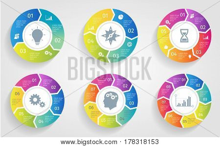 Vector circle arrows for infographic. Template for cycling diagram, graph, presentation and round chart. Business concept with 3 4 5 6 7 8 options, parts, steps or processes