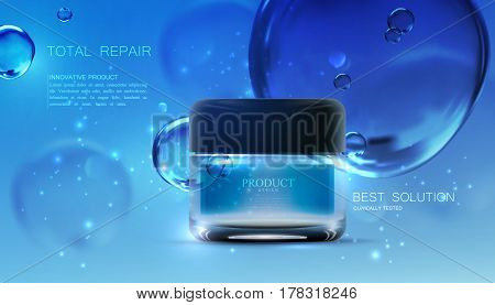 Beauty anti wrinkle cream ad. Cosmetics package design. 3d vector beauty illustration. Moisturizing facial cream glass jar on liquid background with water bubbles and sparkles. Product package mock-up