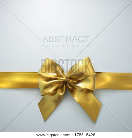 Golden Bow And Ribbon. Vector Holiday Illustration. Realistic Isolated Decoration Element For Design