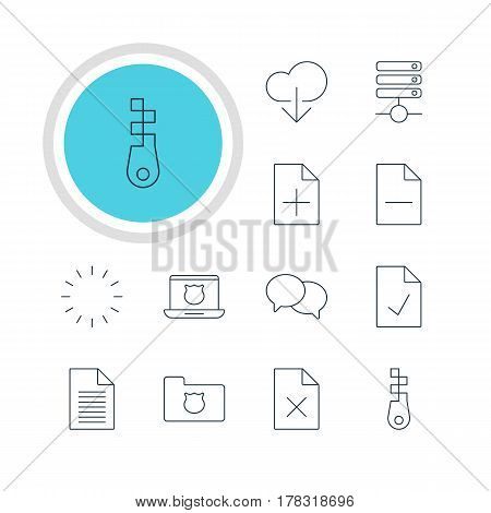 Vector Illustration Of 12 Network Icons. Editable Pack Of Waiting, Document Adding, Data Upload And Other Elements.