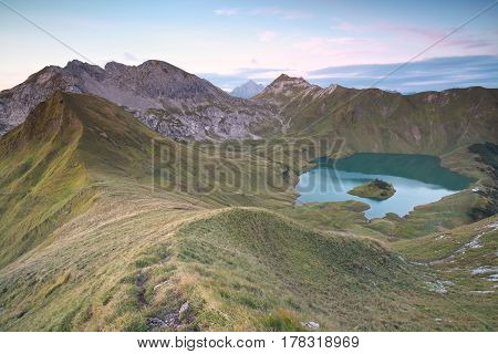 Schrecksee lake in German Alps view from mountaintop