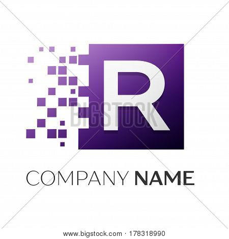 Letter R vector logo symbol in the colorful square with shattered blocks on white background. Vector template for your design