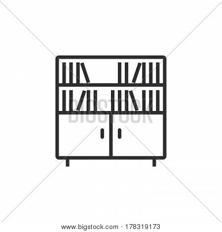 Bookcase line icon outline vector sign linear pictogram isolated on white. logo illustration