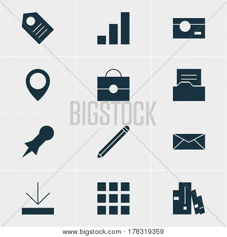 Vector Illustration Of 12 Online Icons. Editable Pack Of Thumbtack, Letter, Document Directory And Other Elements.