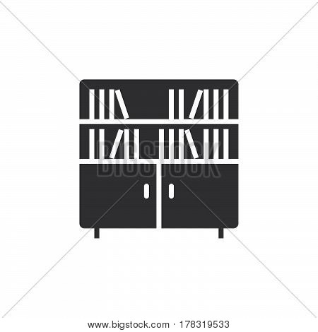 Bookcase icon vector solid flat sign pictogram isolated on white logo illustration