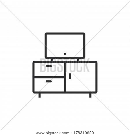 tv stand line icon outline vector sign linear pictogram isolated on white. logo illustration
