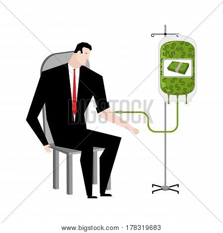 Businessman Transfusion Of Money. Donation Of Cash Bag. Transfusion Of Finance. Business Illustratio